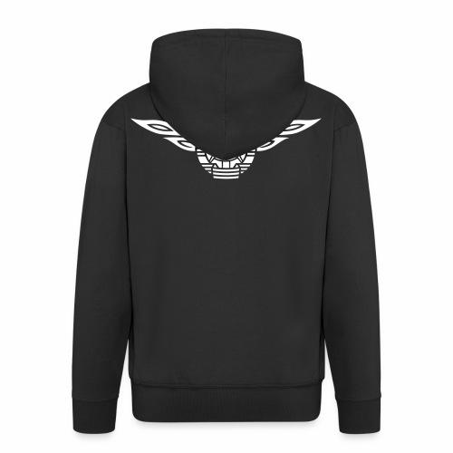 GDR flames crest 1c - Men's Premium Hooded Jacket
