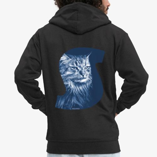 Siberian Cat S Blue - Miesten premium vetoketjullinen huppari