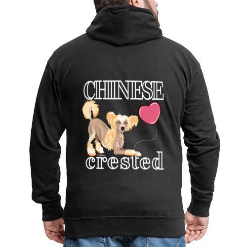 Chinese Crested V - Miesten premium vetoketjullinen huppari