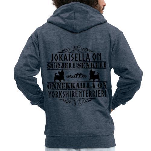 Yorkshirenterrieri Enkeli 5 - Miesten premium vetoketjullinen huppari