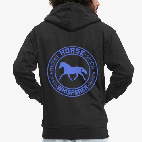 Horse Whisperer Blue - Miesten premium vetoketjullinen huppari