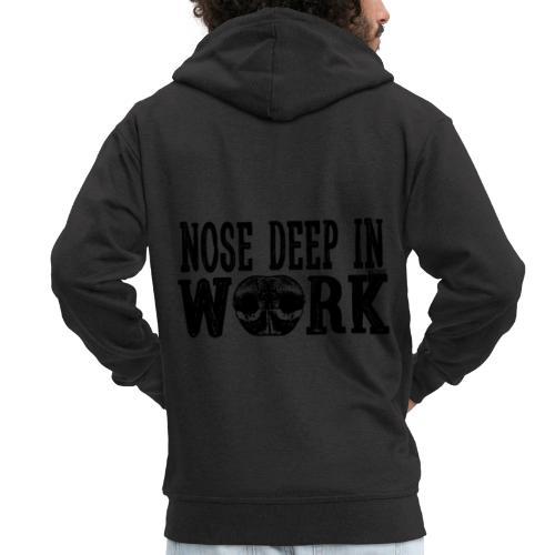 Nose Deep in Work 2 - Miesten premium vetoketjullinen huppari