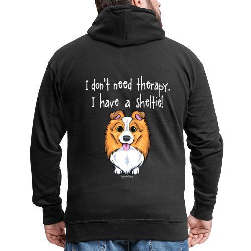 Sheltie Dog Therapy 2 - Miesten premium vetoketjullinen huppari
