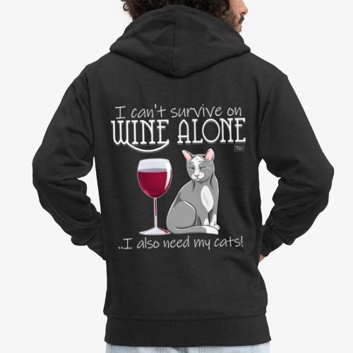 Wine Alone Cats - Miesten premium vetoketjullinen huppari