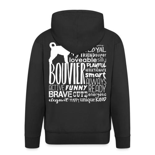 Bouvier Words White - Men's Premium Hooded Jacket