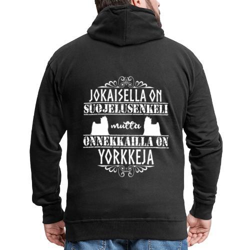 Yorkshirenterrieri Enkeli 4 - Miesten premium vetoketjullinen huppari