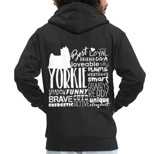 Yorkshire Terrier Words W - Miesten premium vetoketjullinen huppari