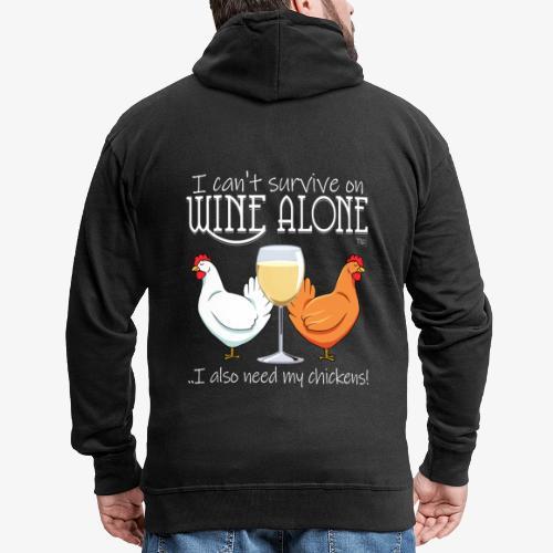 Wine Alone Chickens Ii - Miesten premium vetoketjullinen huppari