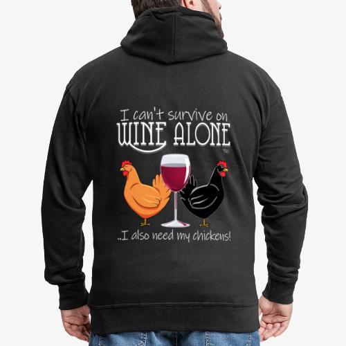 Wine Alone Chickens - Miesten premium vetoketjullinen huppari