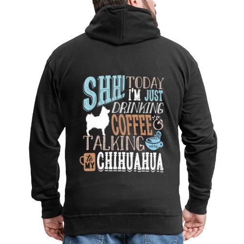 SHH Chihuahua LH Coffee2 - Miesten premium vetoketjullinen huppari