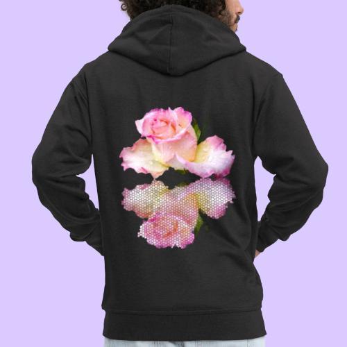 pinke Rose mit Regentropfen im Spiegel, rosa Rosen - Männer Premium Kapuzenjacke