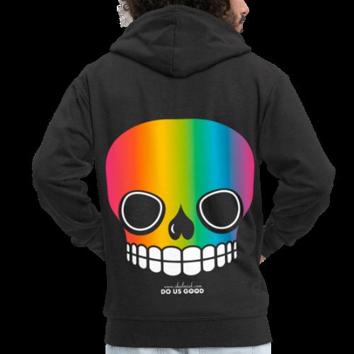 JUST SKULL rainbow - Miesten premium vetoketjullinen huppari