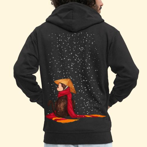 Un singe en hiver sous la neige - Veste à capuche Premium Homme