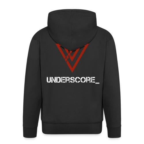 Underscore_ Red_White - Men's Premium Hooded Jacket