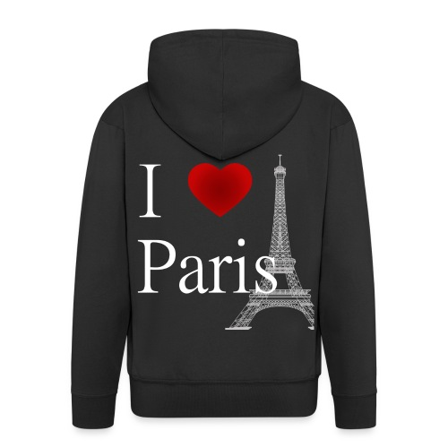 i Love Paris White Letters Light Grey Eiffel Tower - Men's Premium Hooded Jacket