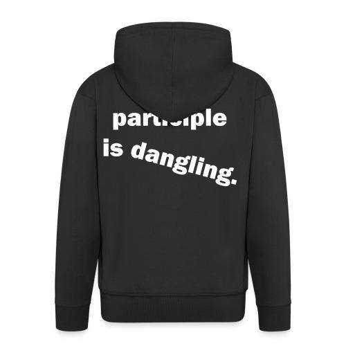 Dangling Participle White Text - Men's Premium Hooded Jacket