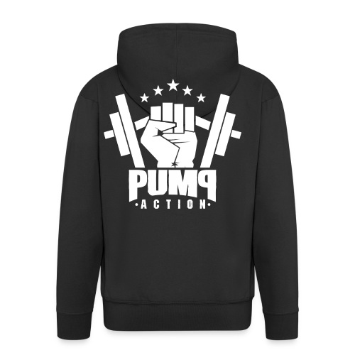 PUMP-ACTION LOGO WHITE - Männer Premium Kapuzenjacke
