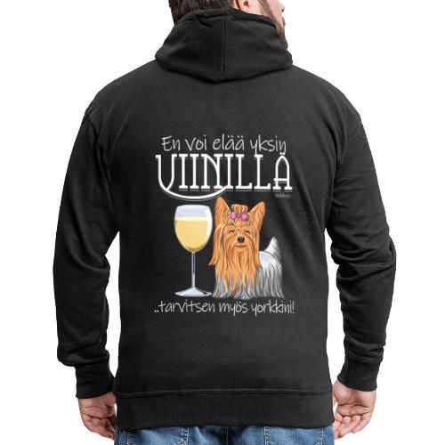 Yksin Viinillä Yorkki - Miesten premium vetoketjullinen huppari