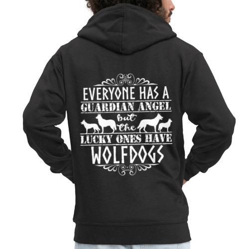 Wolfdog Angels - Miesten premium vetoketjullinen huppari