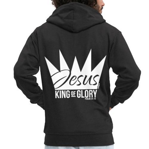 JESUS KING OF GLORY // Psalm 24:10 (WHITE) - Men's Premium Hooded Jacket