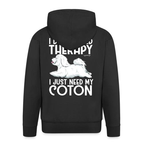 Coton De Tuléar Therapy03 - Men's Premium Hooded Jacket
