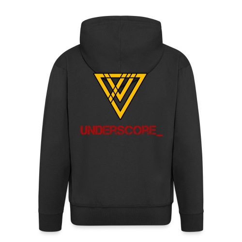 Underscore Yellow Red - Men's Premium Hooded Jacket