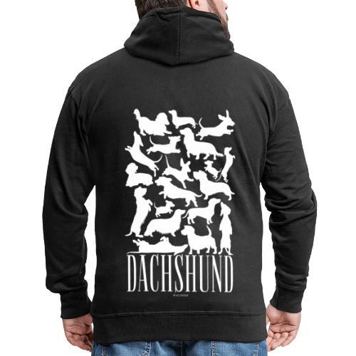 Dachshund White - Miesten premium vetoketjullinen huppari