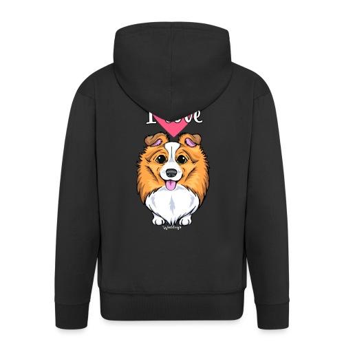 Sheltie Dog Love 2 - Men's Premium Hooded Jacket