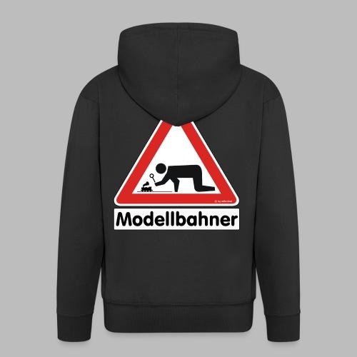Warnschild Modellbahner Dampflok - Männer Premium Kapuzenjacke