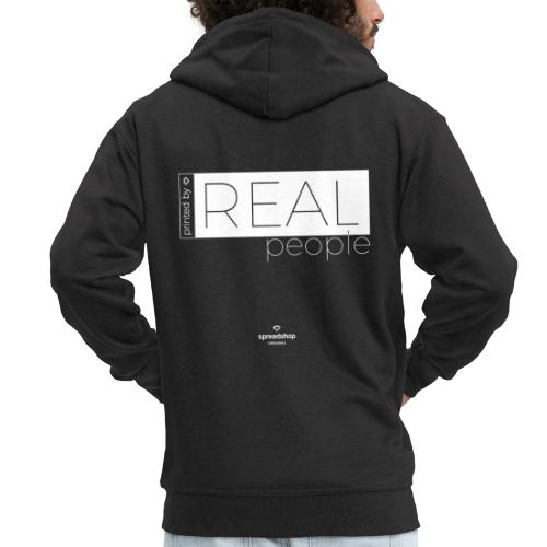 Real in white - Men's Premium Hooded Jacket