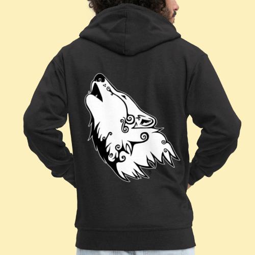 Le Loup de Neved (version contour blanc) - Veste à capuche Premium Homme