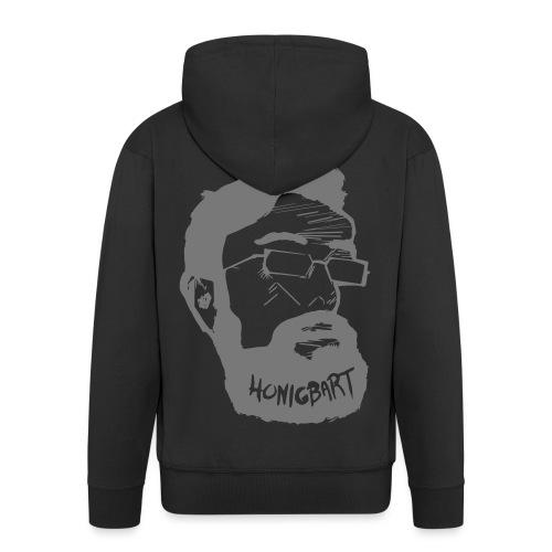 Honigbart Logo Big Grey Rücken - Männer Premium Kapuzenjacke