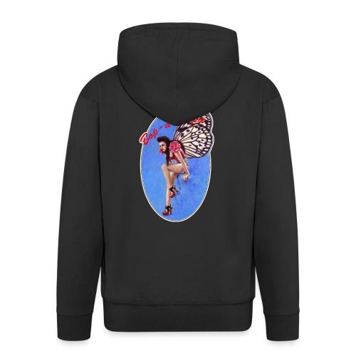Vintage Rockabilly Butterfly Pin-up Design - Men's Premium Hooded Jacket