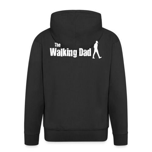 the walking dad white text on black - Men's Premium Hooded Jacket