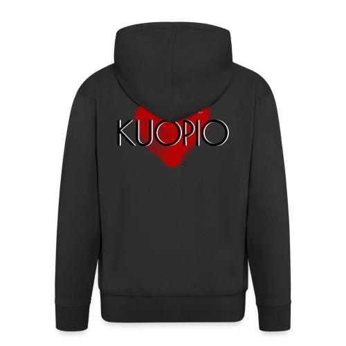 Love Kuopio teksti keskellä - Miesten premium vetoketjullinen huppari