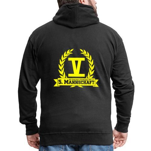V mit College-Schriftzug - Gelb - Männer Premium Kapuzenjacke
