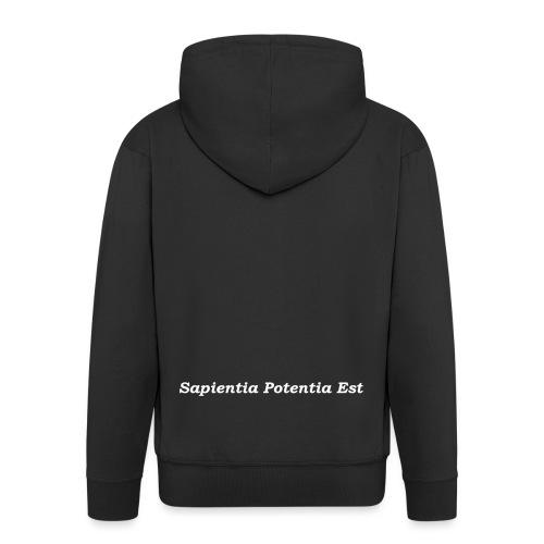 Sapientia Potentia Est - White Text - Men's Premium Hooded Jacket