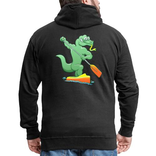 Water Monitor Competing in a Canoe Sprint Event - Men's Premium Hooded Jacket