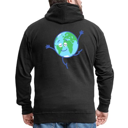 Cute planet Earth dancing graciously - Men's Premium Hooded Jacket