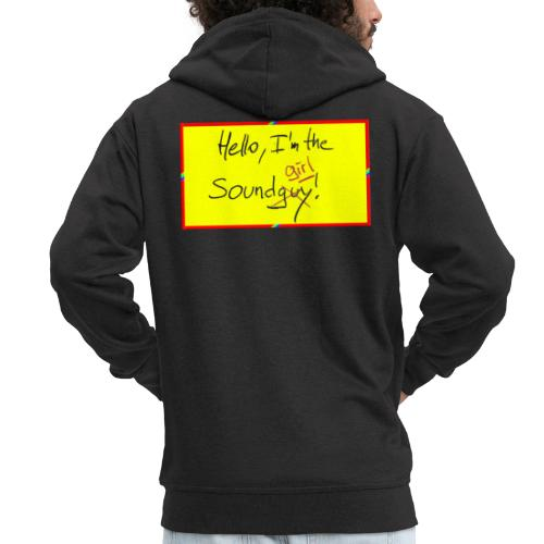 hello, I am the sound girl - yellow sign - Men's Premium Hooded Jacket