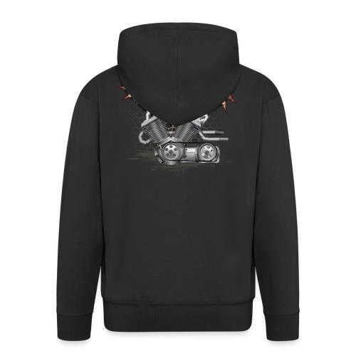 Biker T-shirt mit V Motor & Totenkopf - Männer Premium Kapuzenjacke