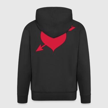 czerwone serce - Rozpinana bluza męska z kapturem Premium
