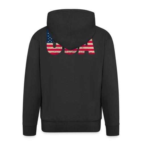 USA Amerika Stars and Stripes Used Look - Men's Premium Hooded Jacket