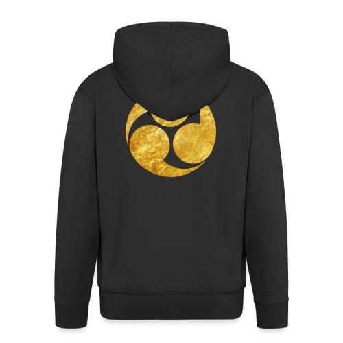 Kobayakawa Mon Japanese clan gold on black - Men's Premium Hooded Jacket