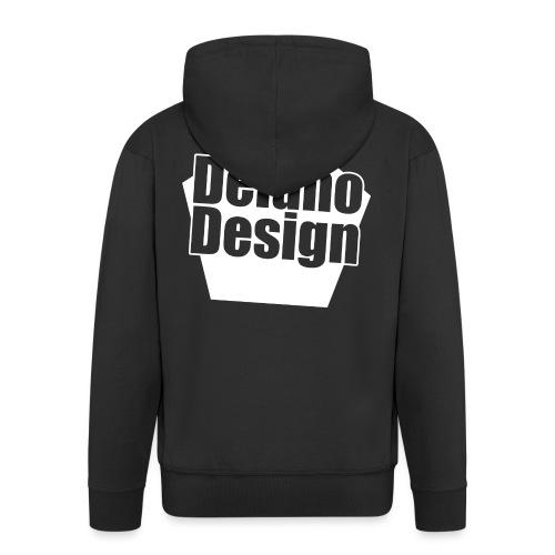 DelanoDesign - Logo Wit - Mannenjack Premium met capuchon