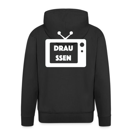 Draussen TV (WEIßE SCHRIFT) - Männer Premium Kapuzenjacke