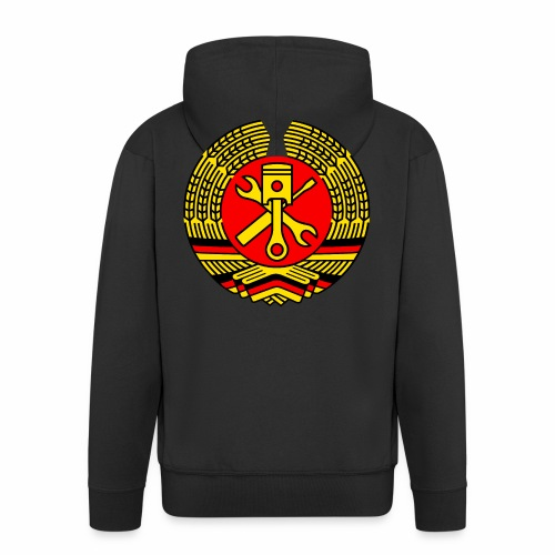 DDR Tuning Coat of Arms 3c (+ Your Text) - Men's Premium Hooded Jacket