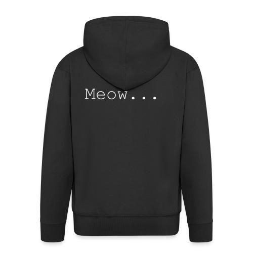 Meow - White Text - Men's Premium Hooded Jacket