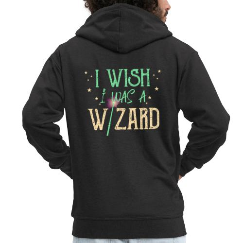 I Wish I Was A Wizard - Green - Men's Premium Hooded Jacket