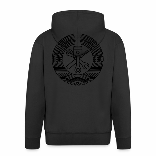 DDR Tuning Coat of Arms 1c (+ Your Text) - Men's Premium Hooded Jacket